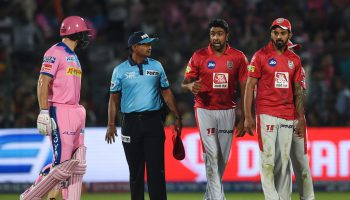 Jos Buttler and Ravichandran Ashwin during their 'Mankading' controversy