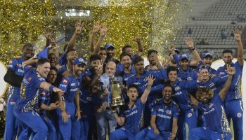 Mumbai Indians celebrate their fourth IPL triumph
