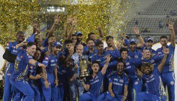 Mumbai Indians celebrate their fourth IPL triumph